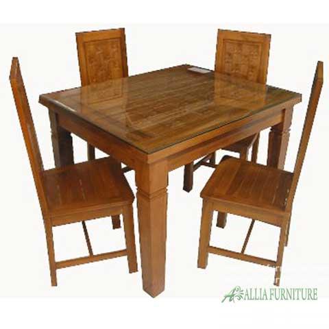 kursi meja makan set kayu jati kerang
