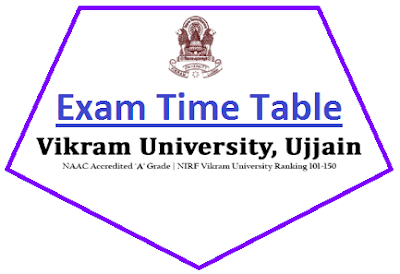 Vikram University Odd Sem Time Table 2018