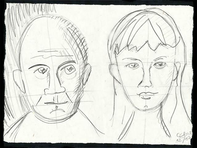 Bleistiftzeichnung: Mann und Mädchen