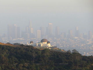 View southeast toward Griffith Observatory and downtown L.A from the flank of Mt. Chapel