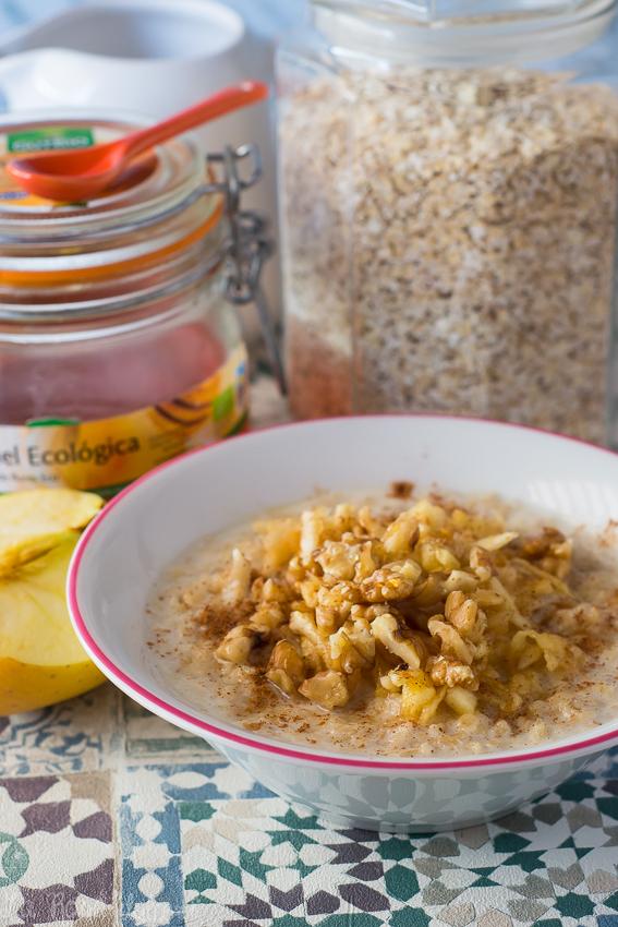 Gachas de avena, manzana y canela #desayuno #saludable #porridge #sinlactosa #singluten