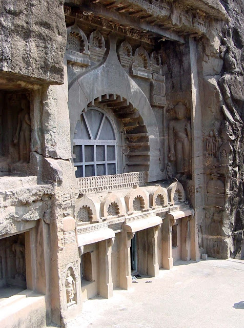 front facade of Ajanta cave number 9 - see the Buddha sculptures on side walls