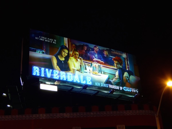 Riverdale neon sign series premiere billboard
