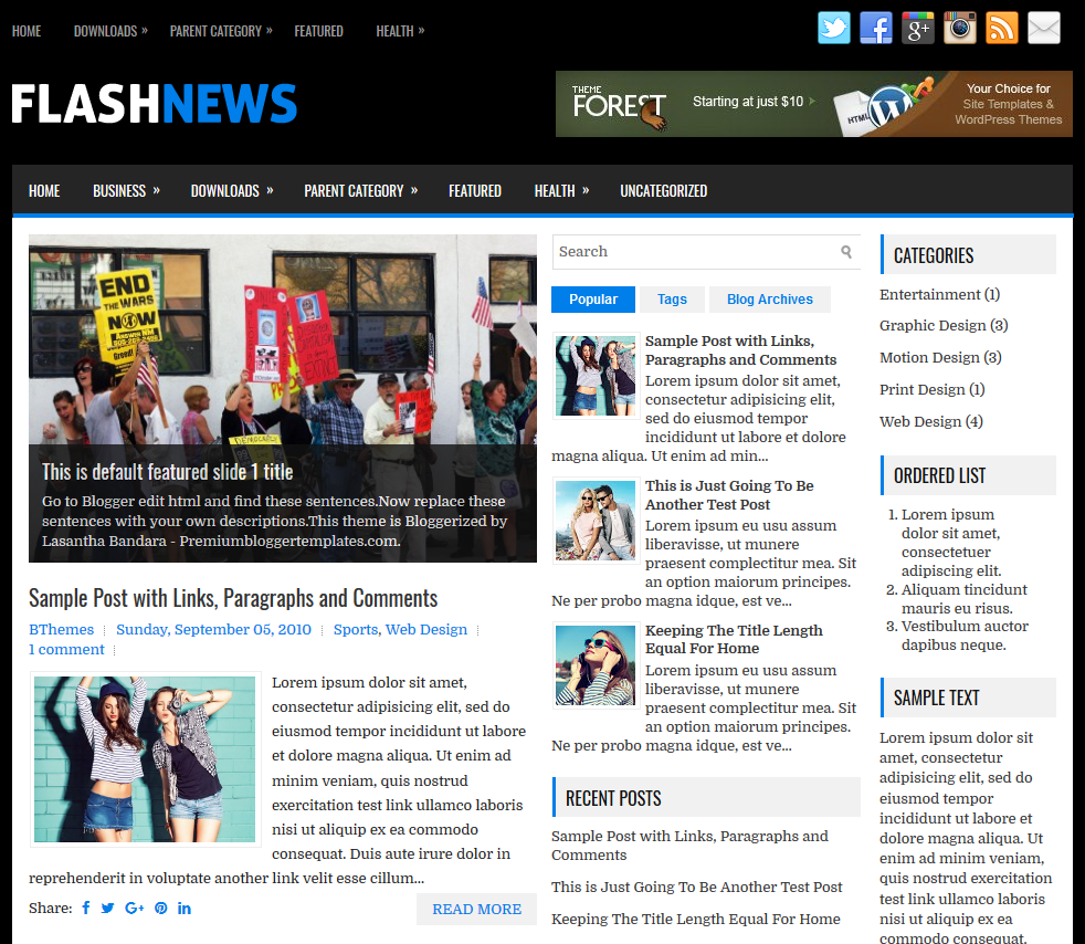 Responsive Blogger Template for News Magazine Websites or Blogs Free Download FlashNews Blogger Template