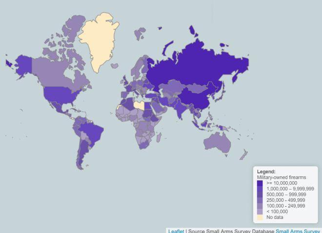 Peta sebaran senjata api militer