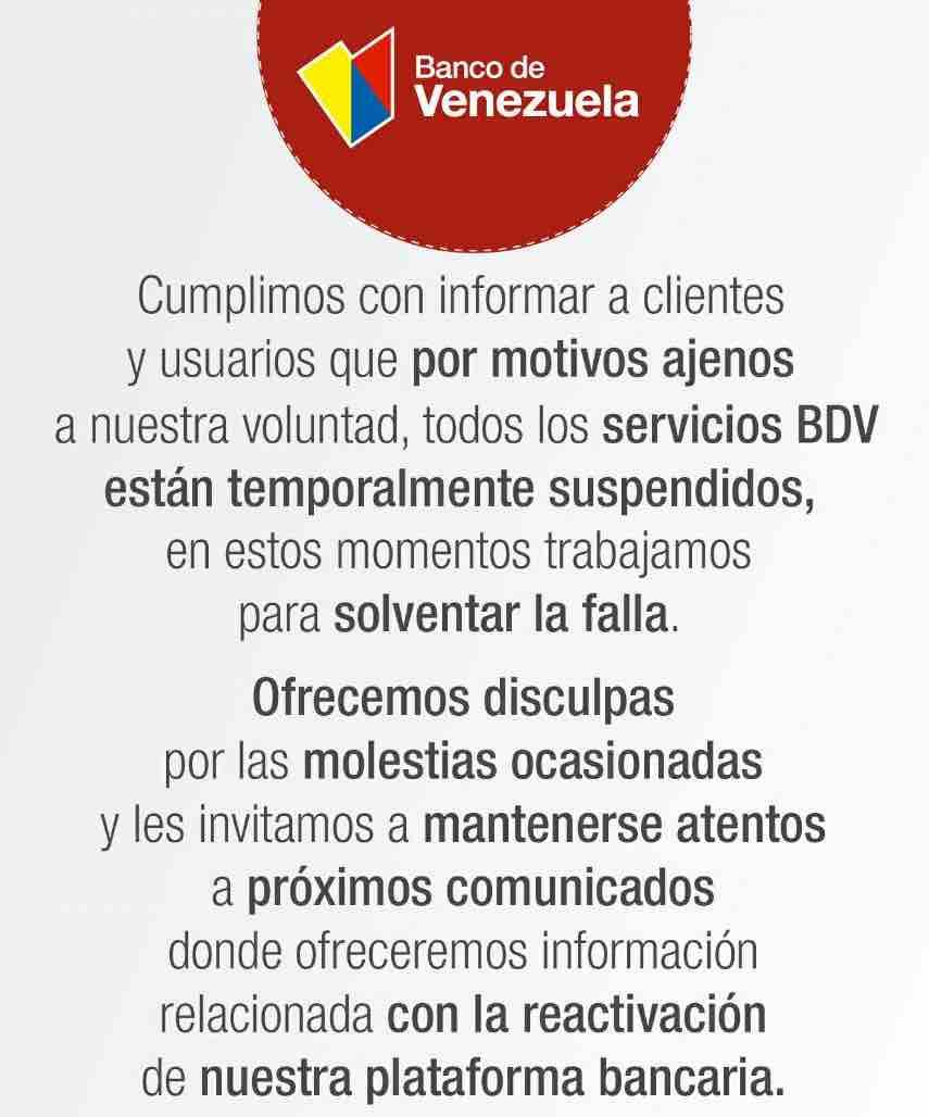 🚒 Suspenden «temporalmente» todos los servicios del Banco de Venezuela por…