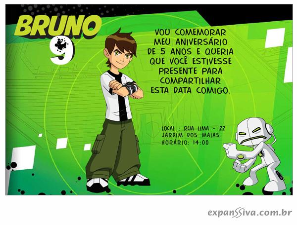 ben 10 convite 02 - Convites de Aniversário Ben 10