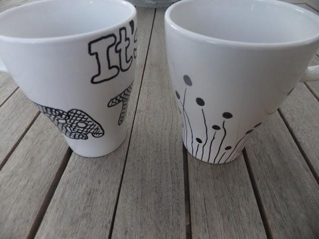 Tassen bemalen mit Porzellanstiften