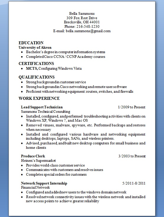 Lead Support Technician Sample Resume Format in Word Free Download