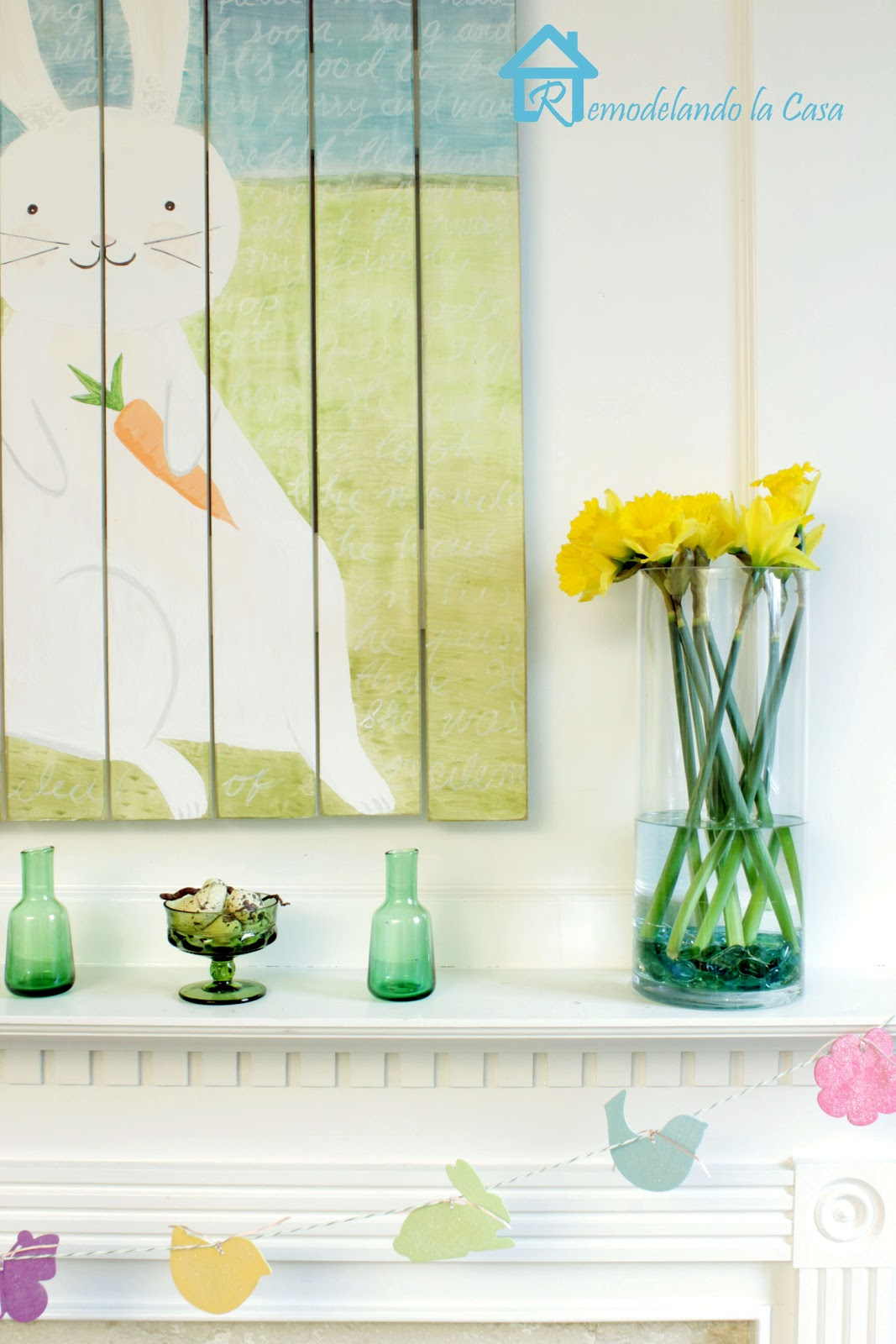 easter mantel with bunny art