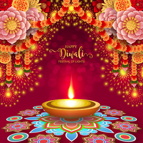 diwali 2019 India diwali elements backgrounds vector Free vector 07