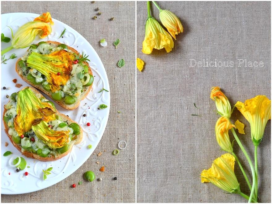 Zapiekanki z bobem i kwiatami dyni