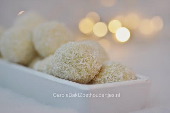 truffels van witte chocolade vanille kokos