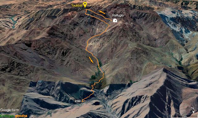 Mapa de la ruta desde el Refugio de Toubkal al Monte Toubkal