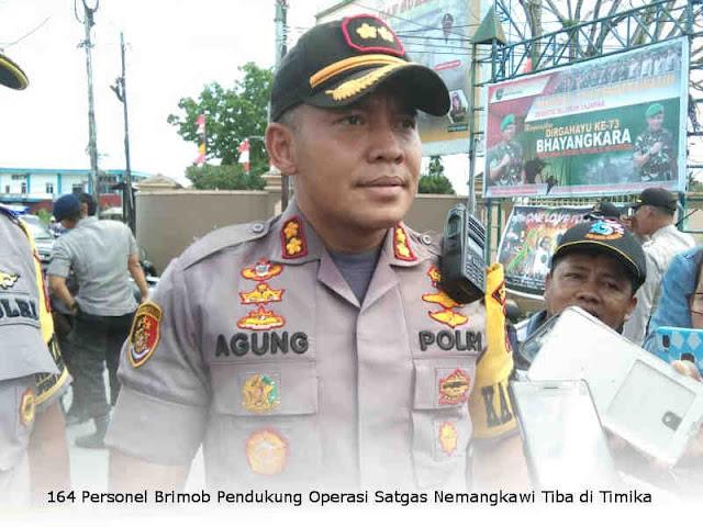 164 Personel Brimob Pendukung Operasi Satgas Nemangkawi Tiba di Timika