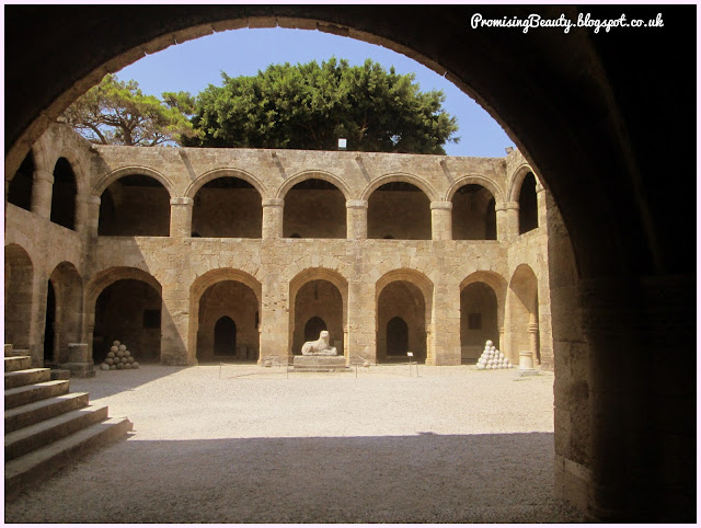 Courtyeard of the archealogical museum, Rhodes, Greece. Sites and tourist spots of the greek islands, ancient history.