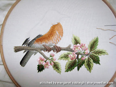 Robin on Blossom Branch (by Tanja Berlin): Bottom of thread painted robin