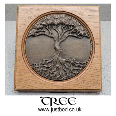 Tree of Life wall plaque in bronze and oak