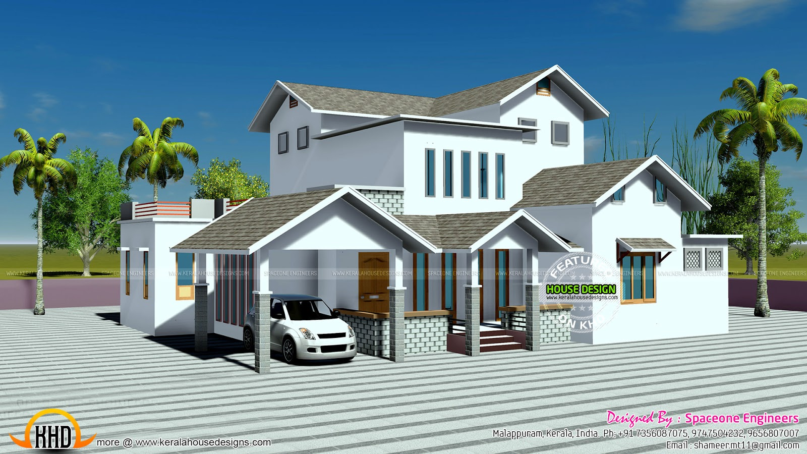 2250 square feet slop roof home plan - 5500 Square Foot House Plans