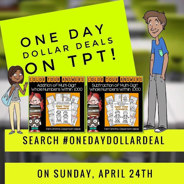 Fern Smith's Classroom Ideas TpT One Day Dollar Deal Sale!