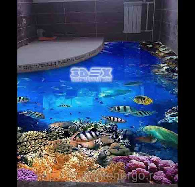 3D epoxy flooring design ideas 3D bathroom floor art murals 2019