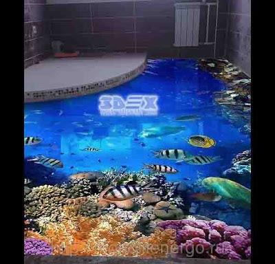 3D epoxy flooring design ideas 3D bathroom floor art murals 2018