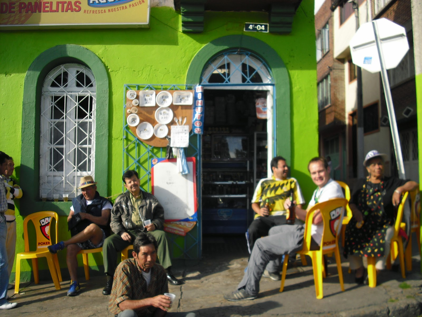 Enjoying the sun and beer at Don Fernando's, La Perseverancia, Bogotá, Colombia.