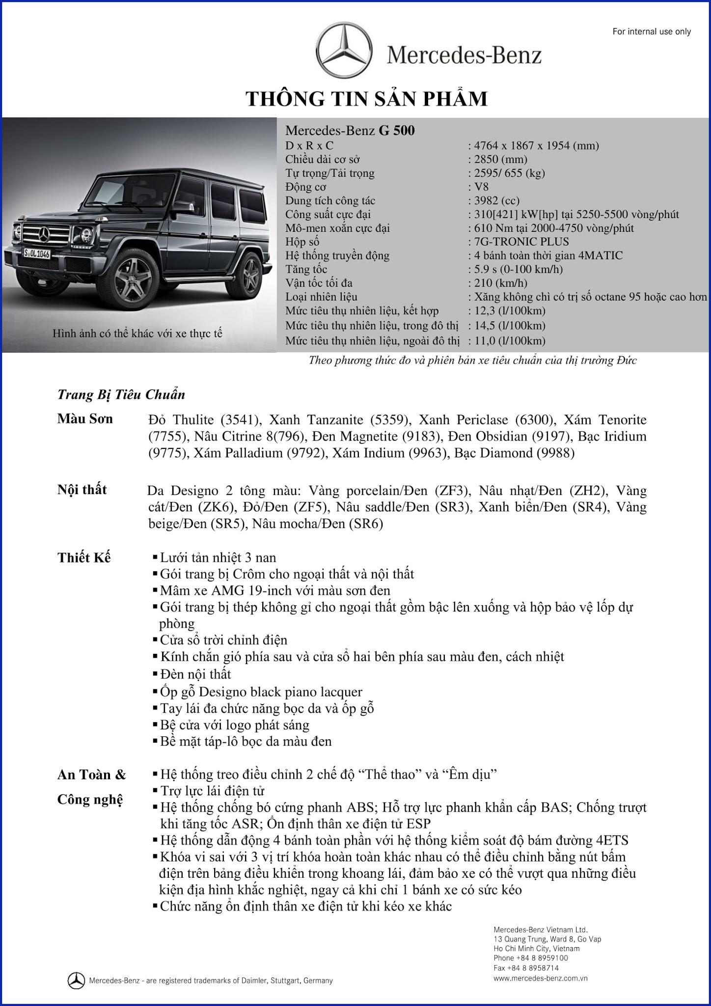 Bảng thông số kỹ thuật Mercedes G500 2017 tại Mercedes Trường Chinh