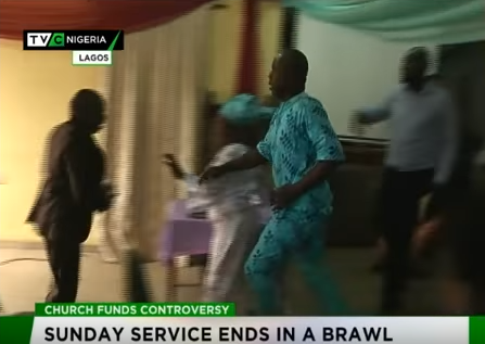 Photos: Members throw out their pastor during church service in Lagos