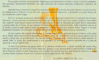 Reverso de la invitación a la XIII Fiesta Provincial del Ajedrez 1966