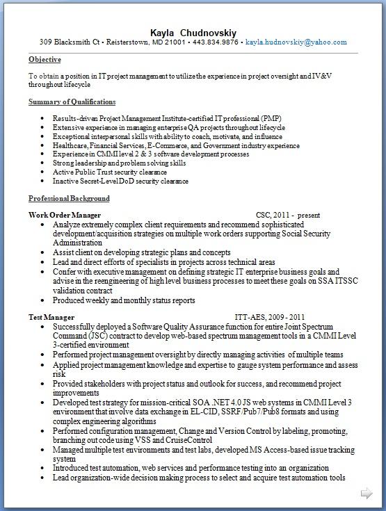 work order manager sample resume format in word free download
