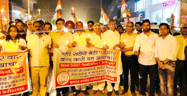 Candlesticks march from Congressmen on Unnao and Jammu Kashmir incidents