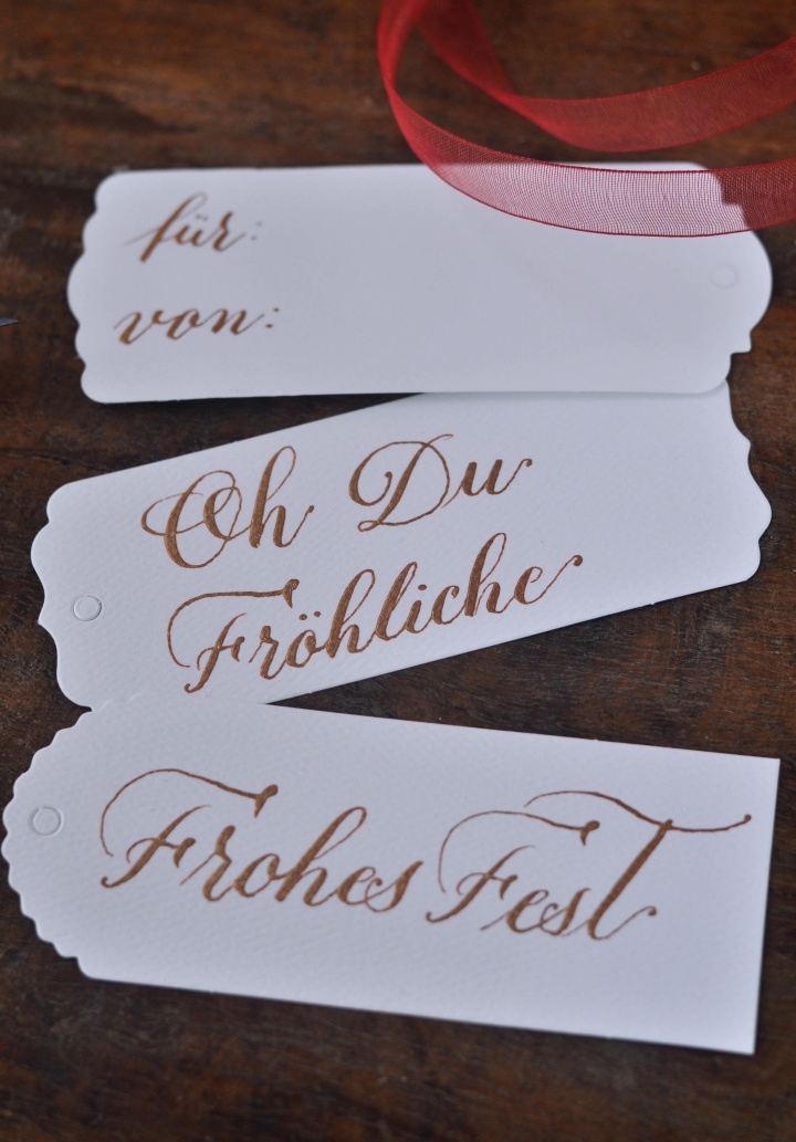 easy DIY Calligraphy Gift Tags with famous German Christmas songs