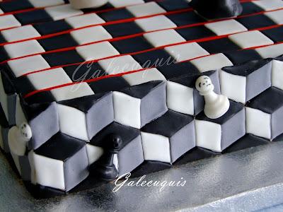 Tarta mosaico con figuras de ajedrez