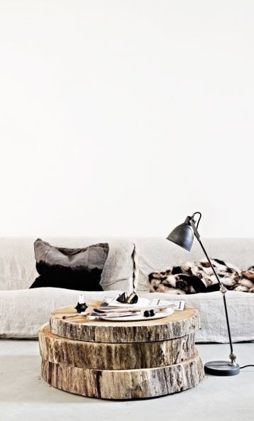 sliced wood as livingroom table