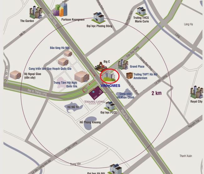 Vị trí đắc địa tại chung cư Vinhomes D'Capitale Trần Duy Hưng
