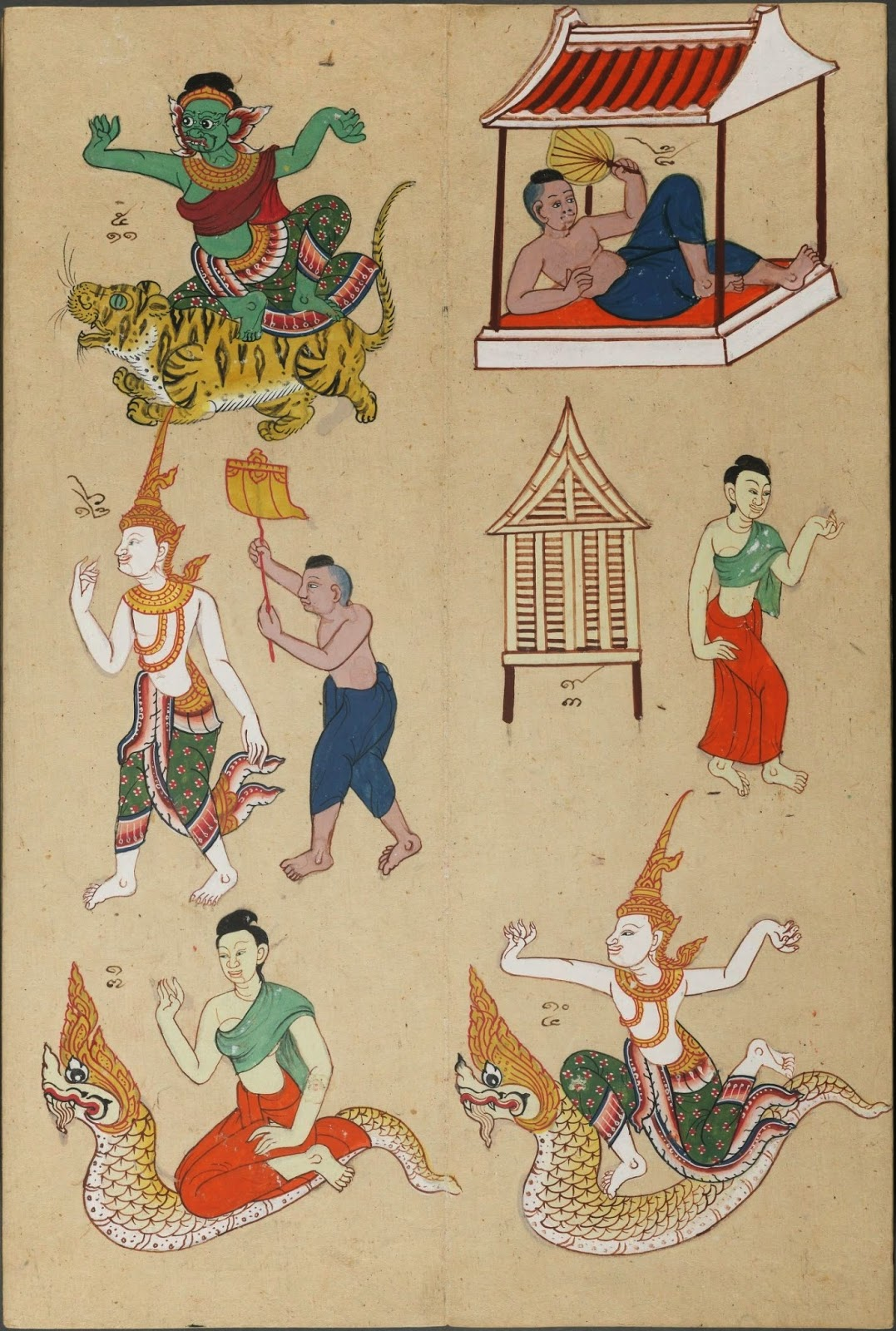 group of fortune-telling zodiac system gods & animals