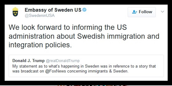 Embassy of Sweden Trump is an idiot. 2.19.17. Private Citizen Marchmatron.com