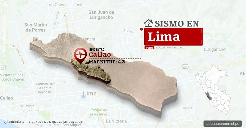 Temblor en Lima de Magnitud 4.3 (Hoy Viernes 24 Abril 2020) Sismo - Epicentro - Callao - Callao - IGP - www.igp.gob.pe