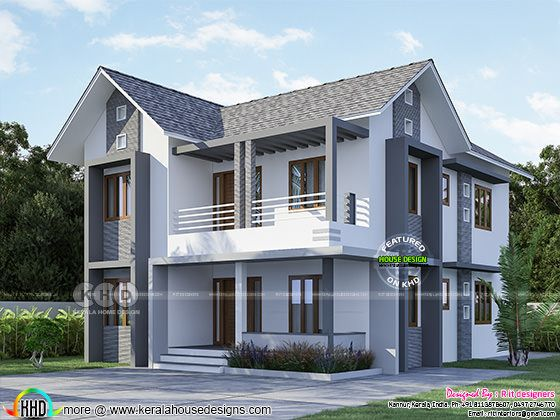 2510 sq-ft 4 bedroom sloped roof home design