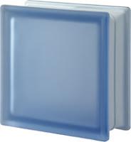 Brique de verre bleu lisse satiné deux faces