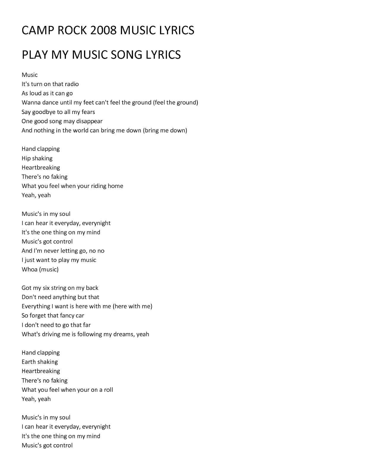 lyrics song: Camp Rock Music Lyrics Play Song