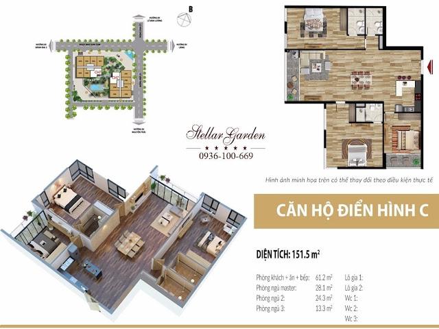 Thiết kế mặt bằng căn hộ 151,5m2 dự án Stellar garden 35 Lê Văn Thiêm