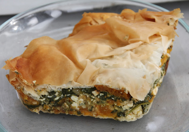 butternut squash and feta spinach pie