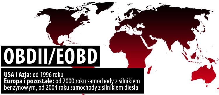 data wprowadzenia OBII/EOBD na świecie
