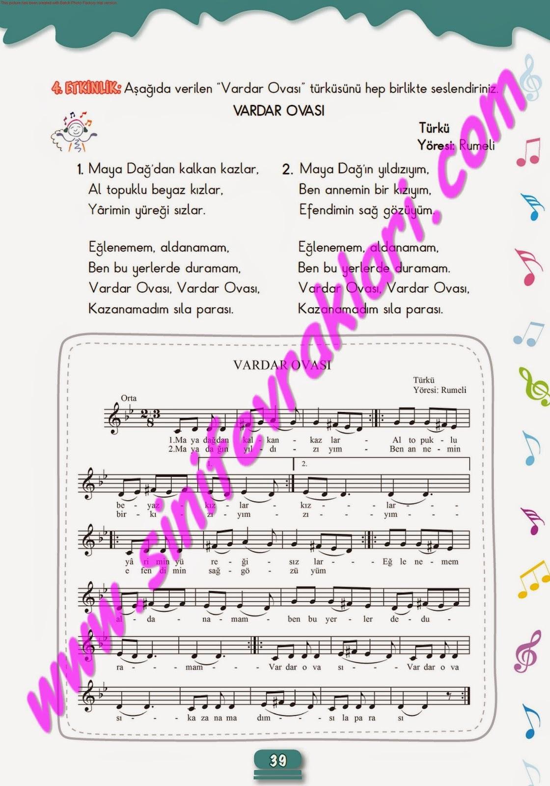 5sınıf Müzik çalışma Kitabı Cevapları Meb Yayınları Sayfa 39 Ders