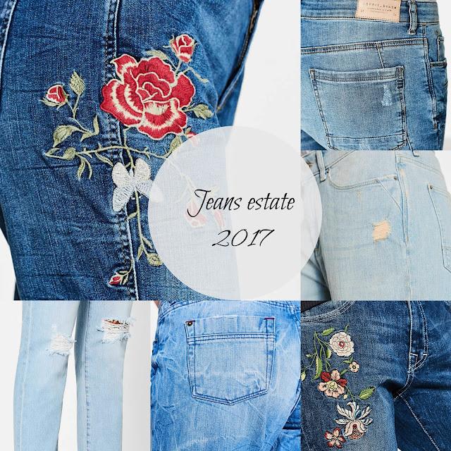 jeans con ricami floreali, strappati