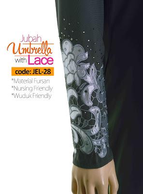 Jubah Umbrella Lace JEL-28 Grey Tangan 1