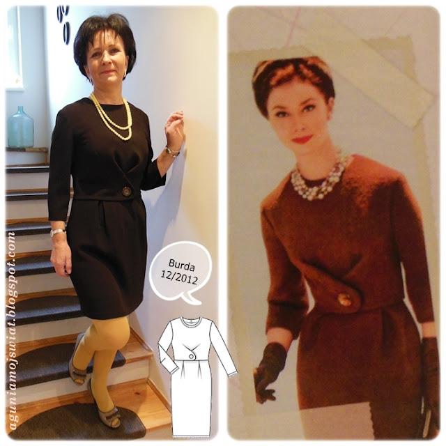Sukienka uszyta z guzikiem z lat 60-tych Burda 12/2012
