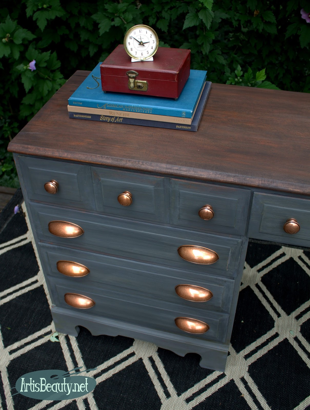 Desk furniture hardware - Art Is Beauty Gray And Copper Desk Makeover The Fab Furniture Flippin Contest